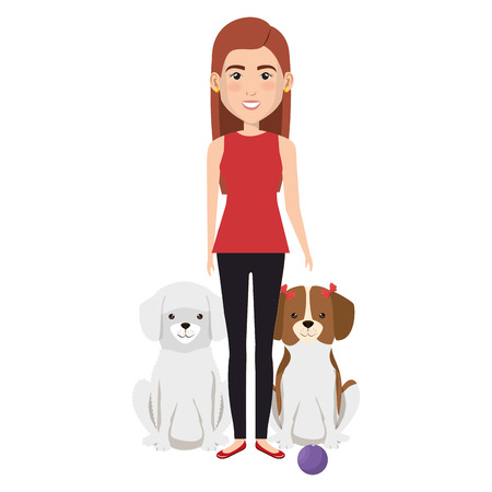 young woman with dogs characters vector illustration design