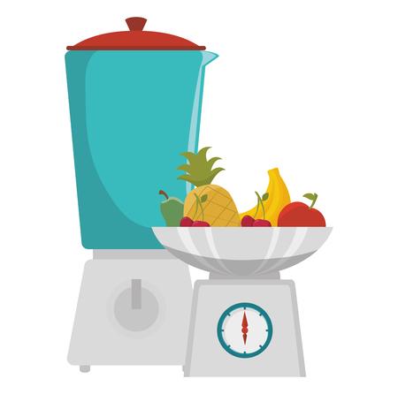 blender with fruits and gramer vector illustration design