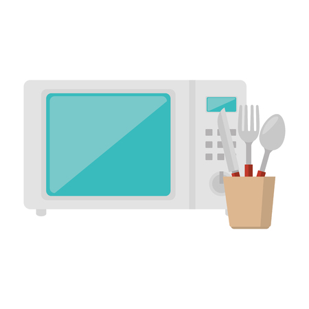 microwave oven with cutleries vector illustration design Ilustração