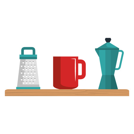 shelf wooden with kitchen utensils vector illustration design
