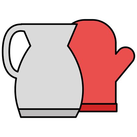 utensil teapot with glove vector illustration design Ilustrace