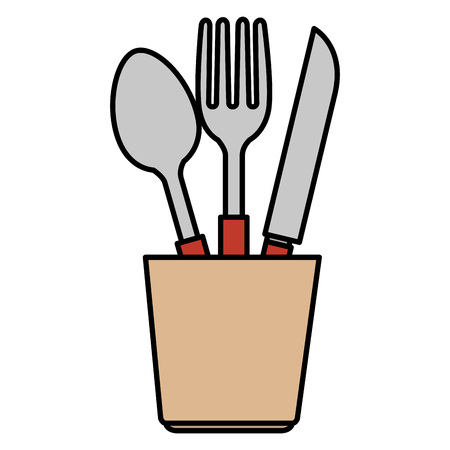 cutlery holder with utensils vector illustration design Vettoriali
