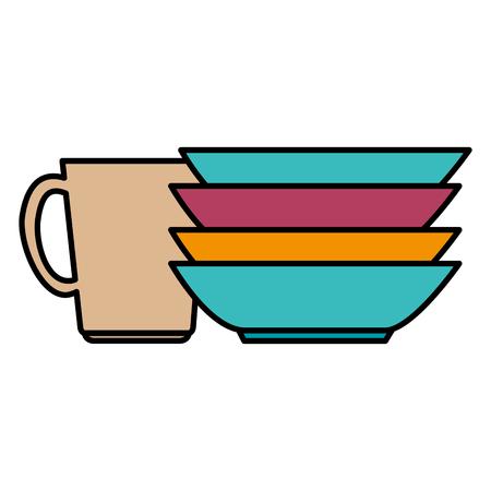 pile dish kitchen utensils vector illustration design Stok Fotoğraf - 104114824