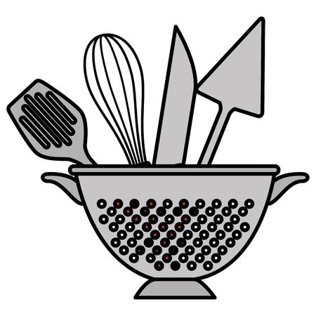 kitchen colander with cutleries vector illustration design Vetores