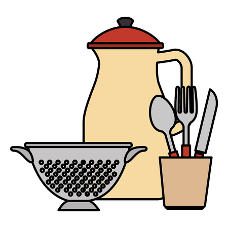 cutlery holder with utensils vector illustration design  イラスト・ベクター素材