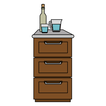 drawer wooden with utensils vector illustration design Vettoriali