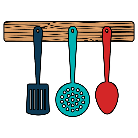 set cutleries hanging icons vector illustration design Çizim