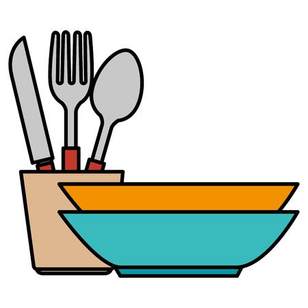 cutlery holder with utensils vector illustration design Illustration