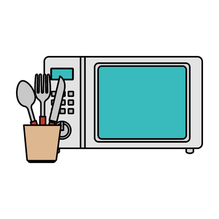 mocrowave oven with cutleries vector illustration design