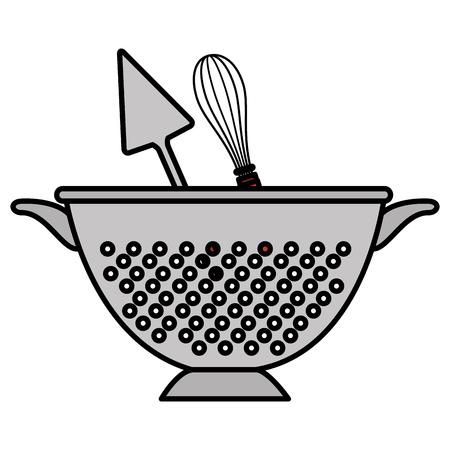 kitchen colander with cutleries vector illustration design 일러스트