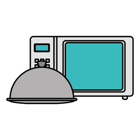 mocrowave oven with tray vector illustration design Ilustração