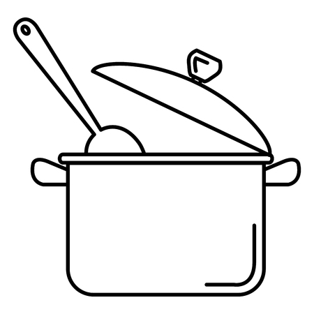kitchen pot with spoon isolated icon vector illustration design