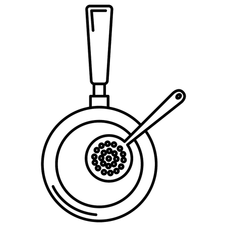 kitchen pan with spoon icon vector illustration design