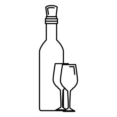 conception d & # 39; illustration vectorielle bouteille de vin et tasse