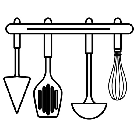 set cutleries hanging icons vector illustration design Ilustrace