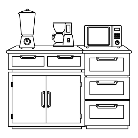 drawer wooden with utensils vector illustration design Illusztráció