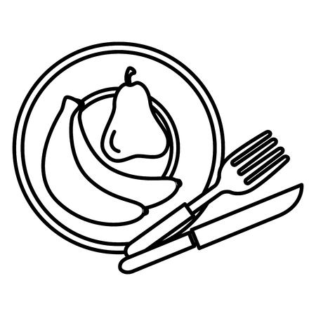 schotel met bestek en fruit vector illustratie ontwerp