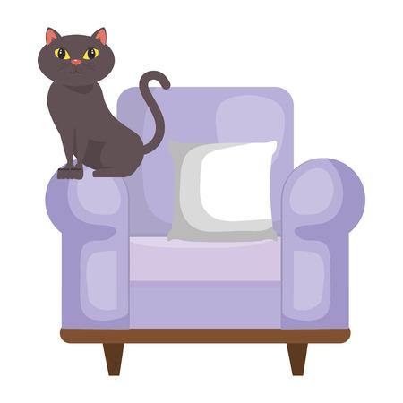 cute cat pet in the sofa character vector illustration design