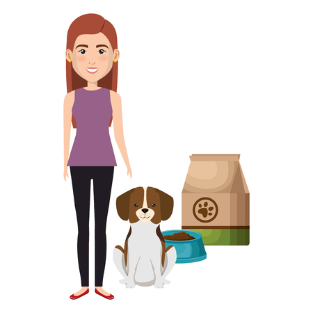 young woman with dog and food characters vector illustration design Illustration