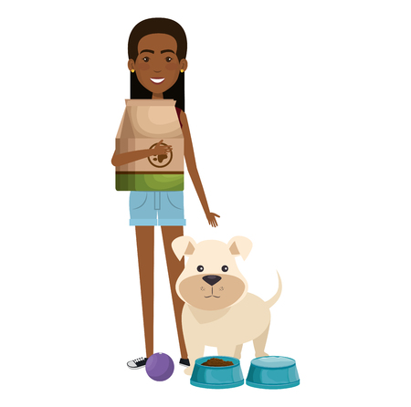 young woman with dog and food characters vector illustration design Çizim