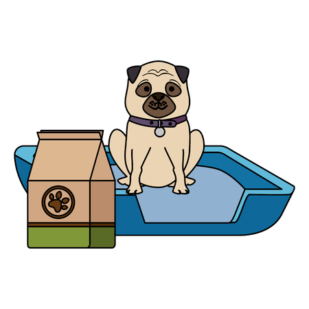 cute dog pet with bed and food character vector illustration design Ilustração