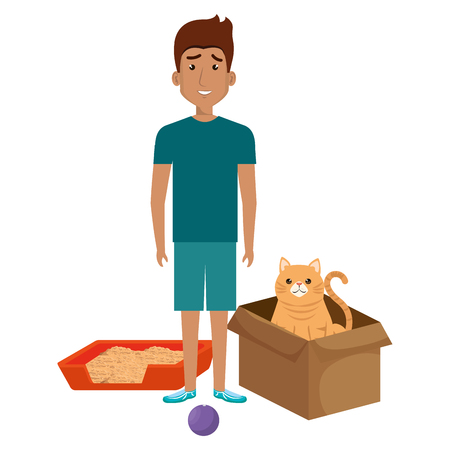 young man with cat in box vector illustration design