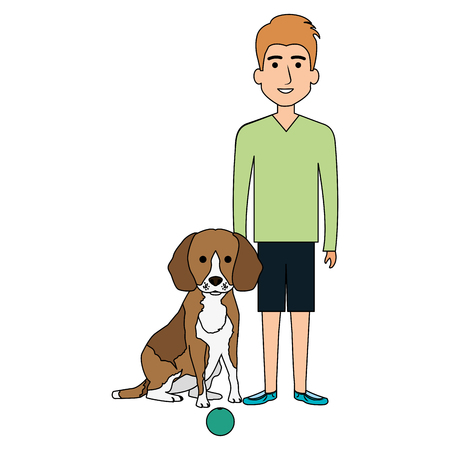 young man with dog and ball vector illustration design Stock Vector - 104119222