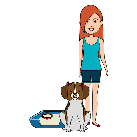 young woman with dog in bed characters vector illustration design Foto de archivo - 104108673
