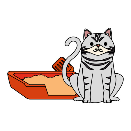 cute cat pet with sand box character vector illustration design