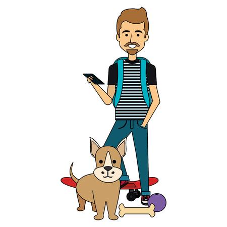 young man with dog and skateboard vector illustration design Illustration