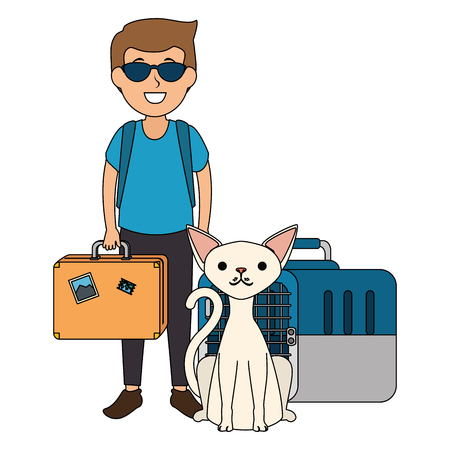 young man with cat and transport box vector illustration design