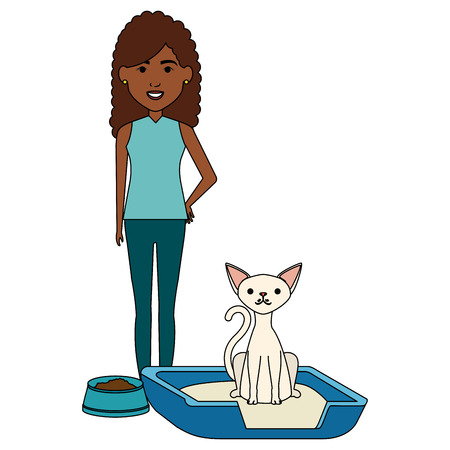 young woman with cat in the bed characters vector illustration design Foto de archivo - 104119572