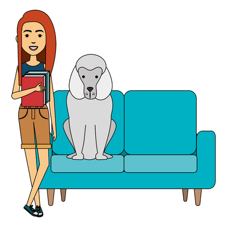 young woman with dog in the sofa characters vector illustration design