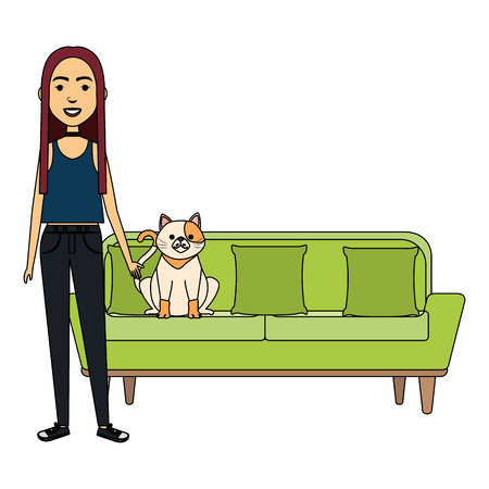 young woman with cat in the sofa characters vector illustration design Illustration