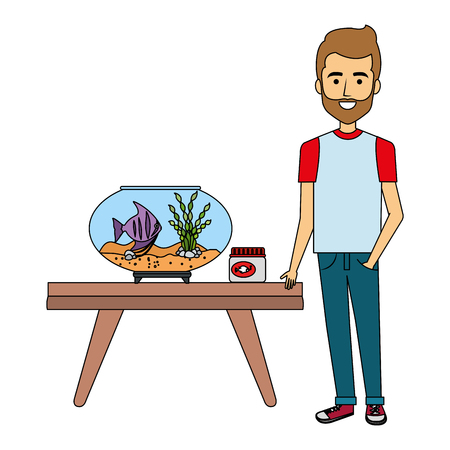 young man with aquarium fish vector illustration design