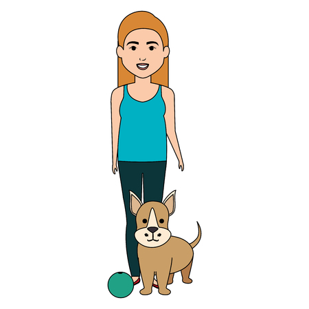 young woman with dog and ball characters vector illustration design