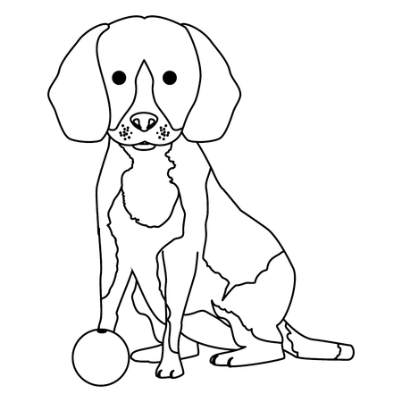 cute dog pet with ball character vector illustration design