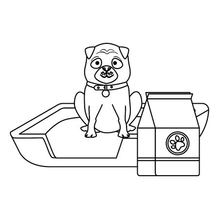cute dog pet with bed and food character vector illustration design Illustration