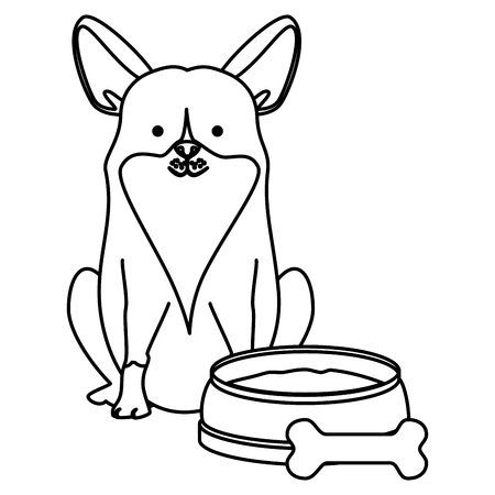cute dog pet with dish and bone character vector illustration design