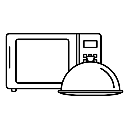 mocrowave oven with tray vector illustration design Ilustrace