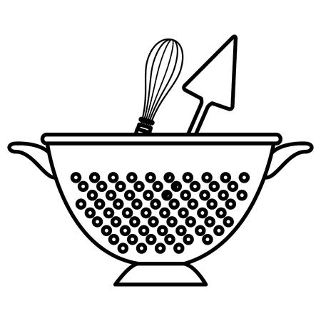 kitchen colander with cutleries vector illustration design Vettoriali
