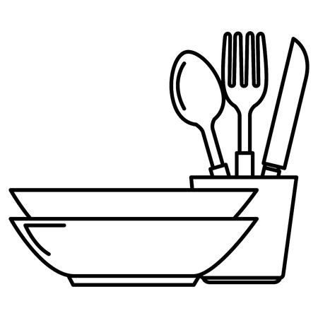 stos naczynia kuchenne przybory kuchenne projekt ilustracji wektorowych
