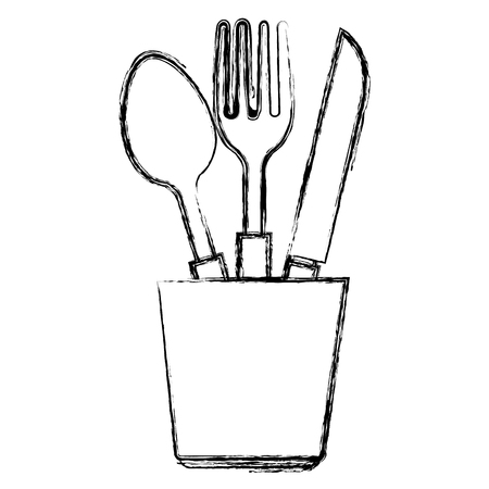 cutlery holder with utensils vector illustration design 일러스트