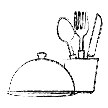 cutlery holder with tray vector illustration design