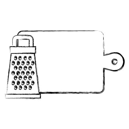 wooden kitchen board with grater vector illustration design Standard-Bild - 104112953