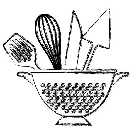 kitchen colander with cutleries vector illustration design Illustration