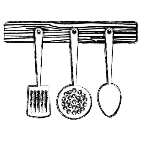 set cutleries hanging icons vector illustration design 向量圖像