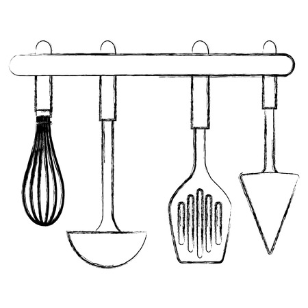 set cutleries hanging icons vector illustration design Illustration