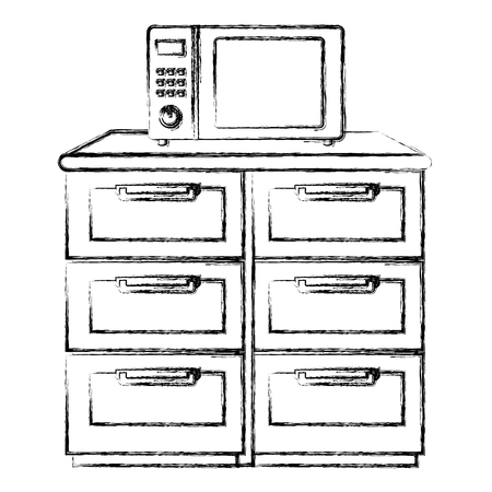 drawer wooden with utensils vector illustration design Illustration