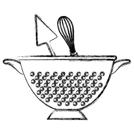 kitchen colander with cutleries vector illustration design Ilustracja
